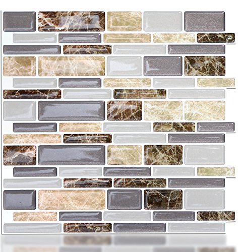 And Tiles Stick Ceramic Peel (Vamos Tile Premium Anti Mold Peel and Stick Tile Backsplash,Stick On Backsplash Wall Tiles for Kitchen & Bathroom-Self Adhesive-11