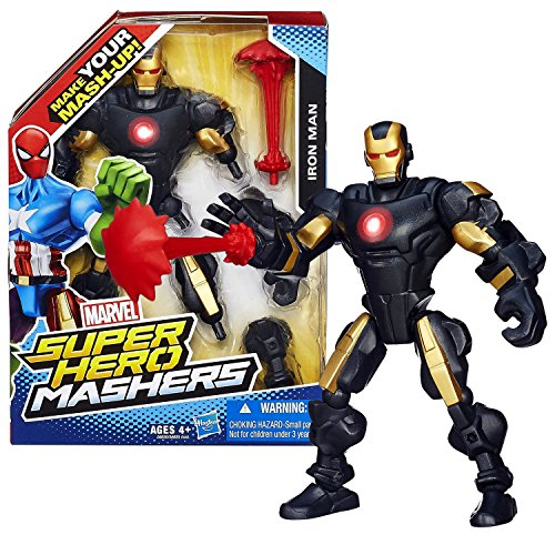Hasbro Year 2013 Marvel Super Hero Mashers Series 6 Inch Tall Action Figure - IRON MAN with Detachable Hands and Legs Plus Repulsor Blast