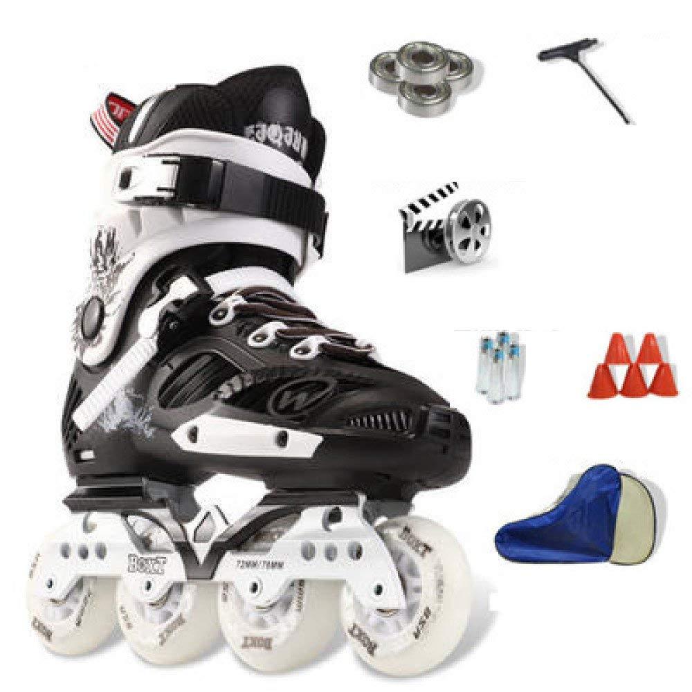 ZYH 大人の子供のための単列ローラースケート男の子女の子初心者4輪トリプルロックメッシュ通気性ローラーブレードブーツ安全パッドヘルメット子供スケートセット (Color : Black-41Yards-Set2)   B07R5L8SXD