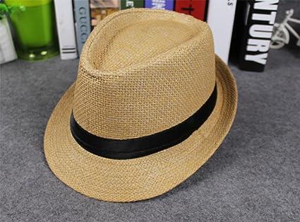 Leisial Sombrero de Jazz Playa Paja Panama Estilo Británico Deporte al Aire  Libre Gorro del Sol Sombrero Modelos de Pareja para Hombre Mujer   Amazon.es  ... 58e9ea56cca4