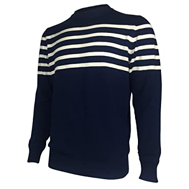 Cici Ran Mens Navy And White Striped Sweater Wool Pullover Navy M