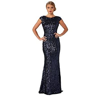 Langhem Womens Australia Katia Evening Dress Sequin XXL Navy