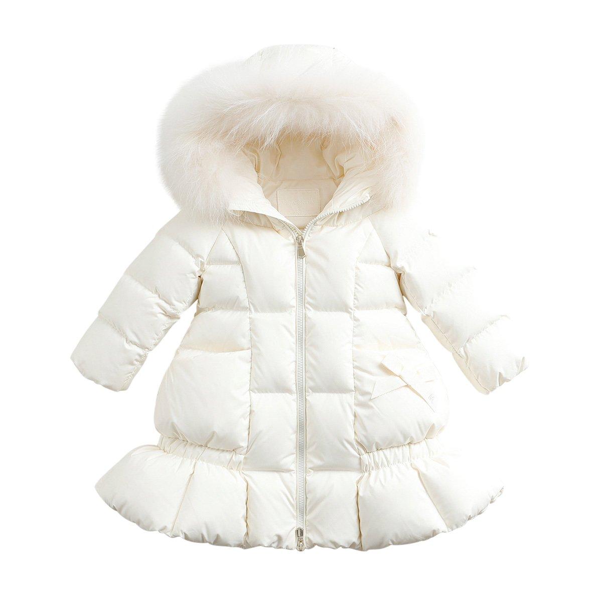 marc janie Baby Girls Kids' Lightweight Down Jacket With Raccoon Fur Collar Hood Puffer Winter Coat Off White 6T