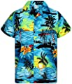 V.H.O. Funky Hawaiian Shirt for Men Shortsleeve Front-Pocket Casual Button Down Surf