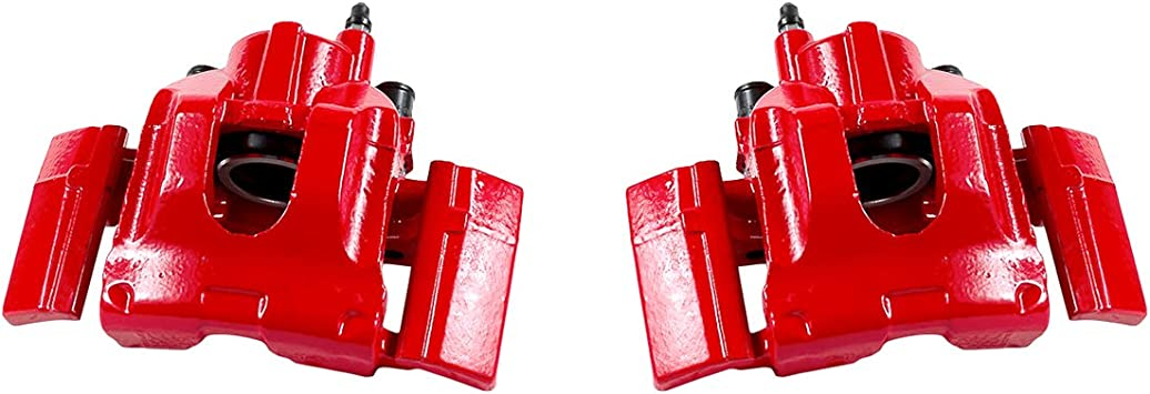 2 CCK01572 FRONT Performance Grade Red Powder Coated Semi-Loaded Caliper Assembly Pair Set