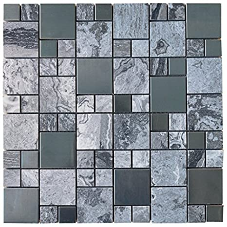 Pebble Stone Marble with Grey Metallic Square Glass Mosaic ...