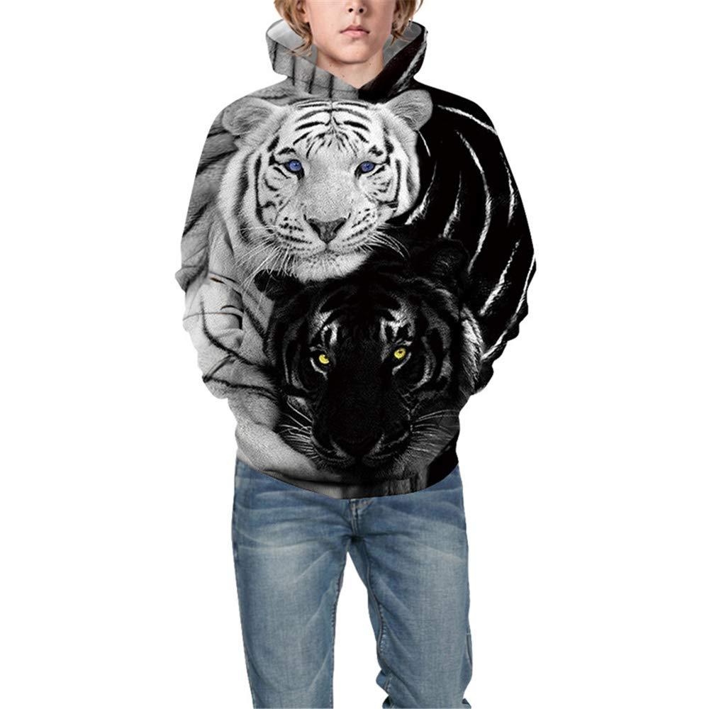 Morbuy 3D Loup Tigre Imprim/é Automne Hiver Manches Capuche Longues avec PocheChaud pour Gar/çons et Filles No/ël 6-14 Ans 115-120cm XS Unisex Sweat-Shirts /à Capuche Enfants ,Loup Bleu