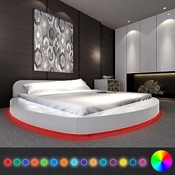WEILANDEAL Cama con colchon y LED 180x200 Redonda Cuero Artificial Blanca Camas Tira LED: Amazon.es: Hogar