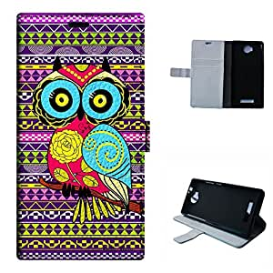Life 8 XL case, SoloShow(R) BLU Life 8 XL 5.5 inch case Deluxe High Quality PU Leather Wallet Flip case, Aztec Andes cartoon owl Pattern (owl)