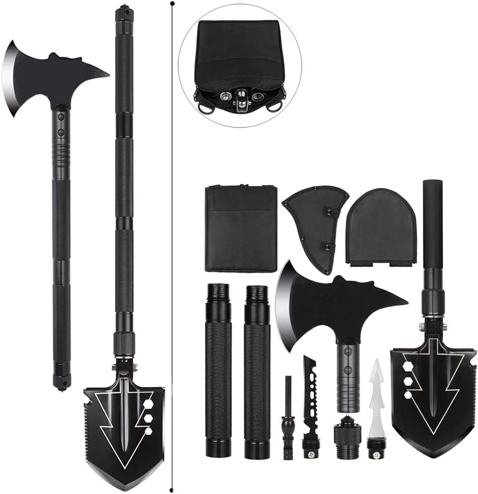TST-Well Multitool SurvivalShovel with Camping Axe, Military Folding Tactical Camping ShovelHatchet Axe Survival Tool with Sheath for Outdoor, Backpacking, Emergency