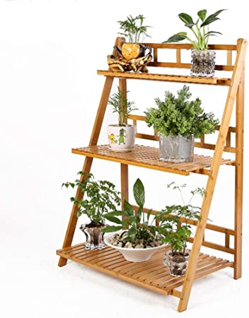 NANFENG 2/3 Niveles Plegable Estantería para Macetas Estante Decorativo de Bambú para Plantas Flores Estantería Escalera para Jardín Exterior Interior,70 * 41 * 95CM: Amazon.es: Hogar