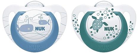 NUK 10176220 Genius Color - Chupete de silicona (forma adaptada a la mandíbula, 6-18 meses, 2 unidades), color azul y verde