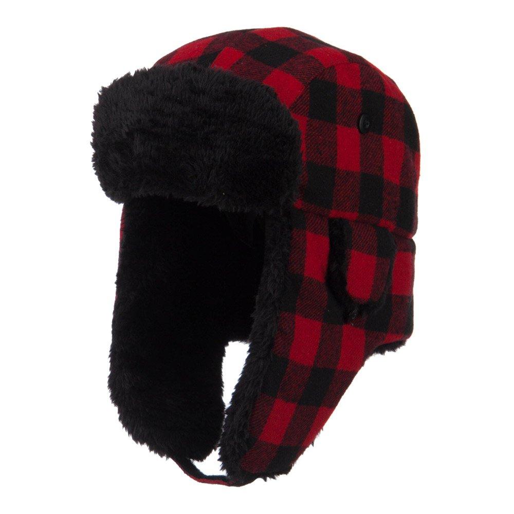 Big Size Buffalo Plaid Trooper Hat - Red Black 2XL-3XL by e4Hats.com