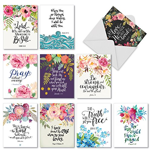 10 Pack of Inspirational Bible Verse Cards - Religious, Inspiring Motivational Quote Greetings - Blank Note Card for Christmas, Wedding, and Holidays - 4 x 5.12 inch - Assortment w/ - Greeting Cards Bible