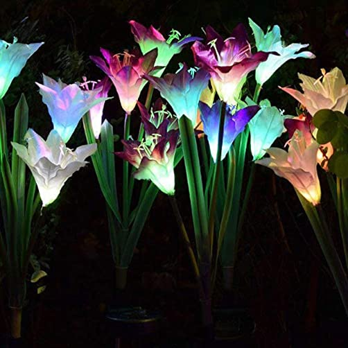 Uonlytech Solar Lawn Lamp, 4LED Lily Flower Solar Path Lights, Solar Garden Stake Lights for Courtyard Lawn Garden Patio 2Pcs,Mixed Colors