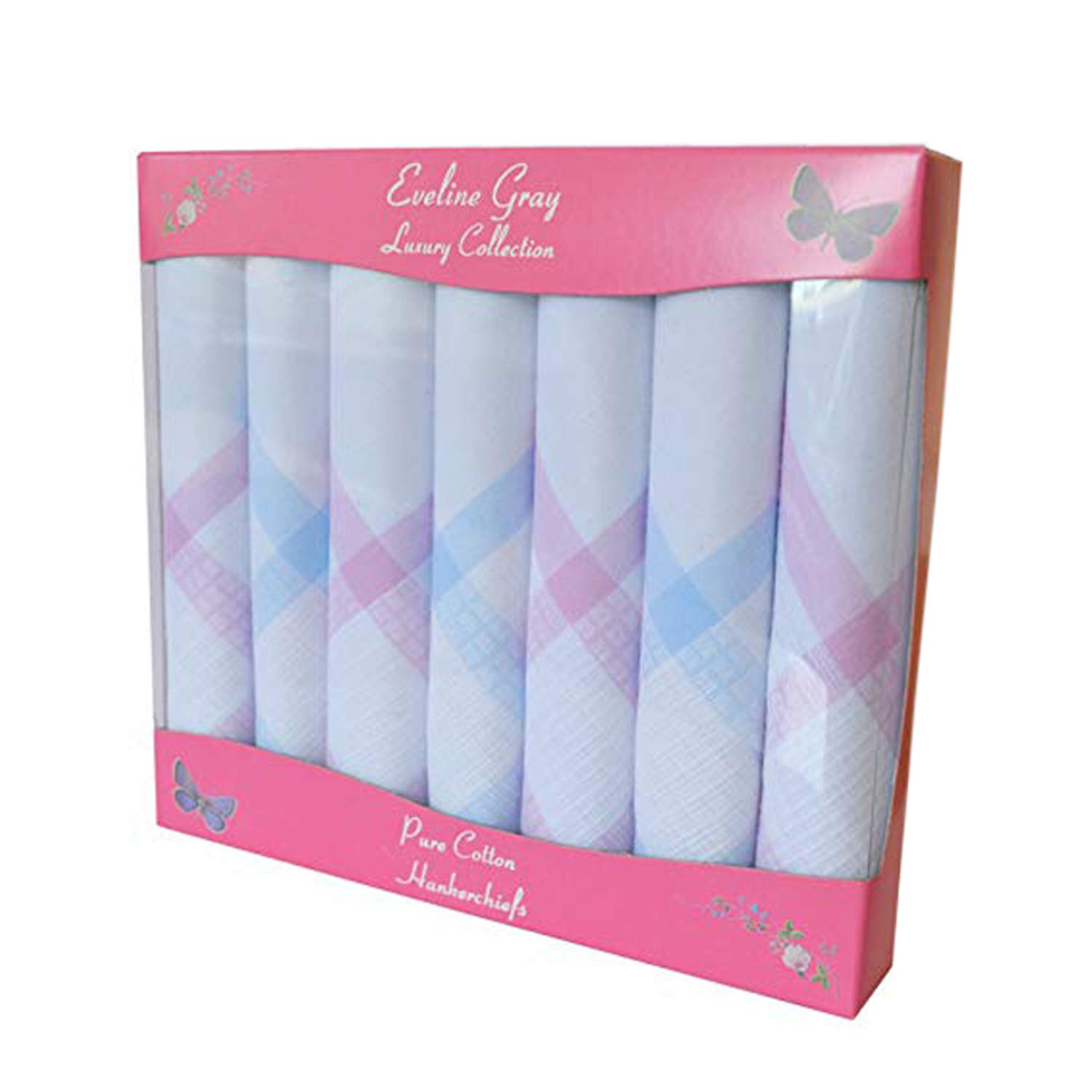 7 Pack Ladies 100% Cotton Coloured Woven Border Satin Handkerchiefs In Gift Box