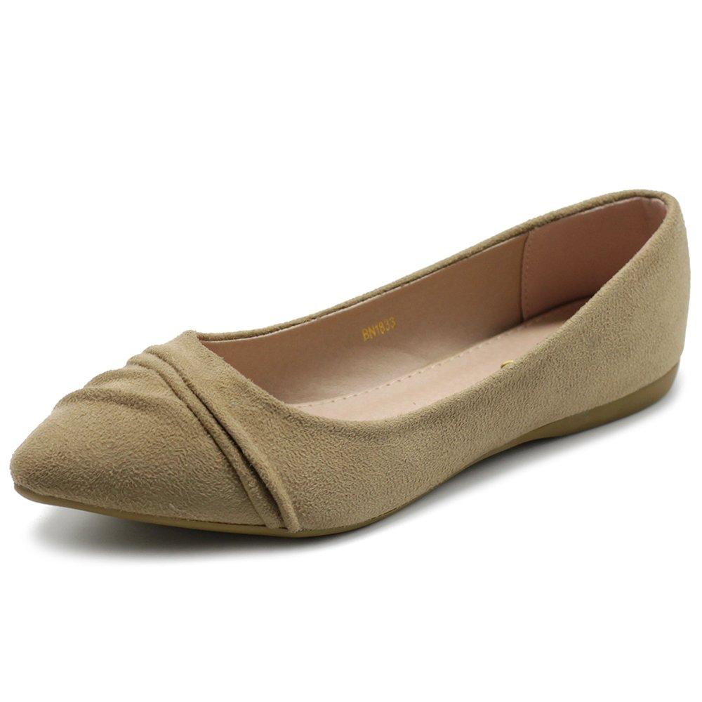 Ollio Women's Shoe Ballet Dress Faux Suede Pleated Pointed Toe Flat 1BN1833