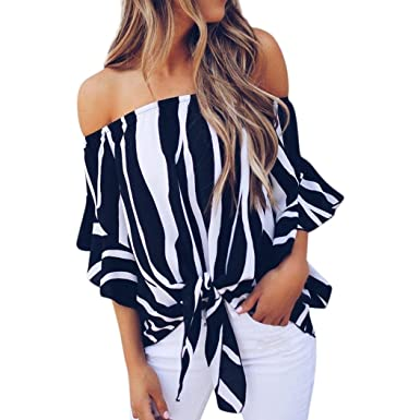 f22aa8329816b6 HARRYSTORE Fashion Womens Striped Tie Front Bardot Tops Ruffle Sleeve Print Off  Shoulder Blouse Casual Summer Tops: Amazon.co.uk: Clothing