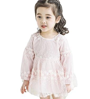 529b38520db62 TAOHUA ガールズ ワンピース 子供服 姫様 プリンセススカート 可愛い 花柄 レースドレス チュールスカート