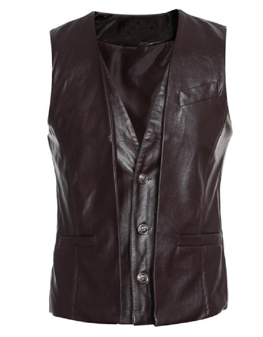 DoufineMen Casual Fake Two Buttoned Slim Fit PU Leather Vest Coffee XL