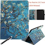 NewShine iPad Air 2 Case, iPad 6 Case, Synthetic Leather Portable Book Style Protective Flip Folio [Kickstand] Case Cover with [Cards Slots/Cash Pocket] for Apple iPad Air 2 iPad 6 (Blossoming)