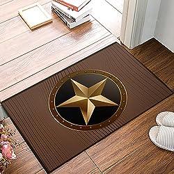 SUN-Shine Non Slip Backing Doormat Western Texas Star On Brown Wood Barn Print Entrance Rug Indoor Outdoor Door Mat Welcome Mats (18x30in)
