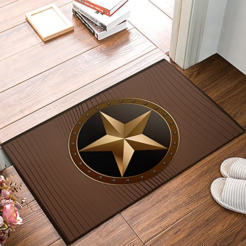 SUN-Shine Non Slip Backing Doormat Western Texas Star On Brown Wood Barn Print Entrance Rug Indoor Outdoor Door Mat Welcome Mats (18x30in)