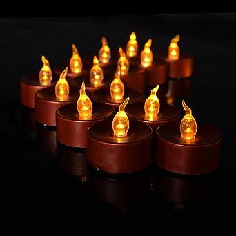 Weihnachtsfeier Dekoration.Zinsale 12 Flammenlose Led Teelicht Batteriebetriebene Flackernde
