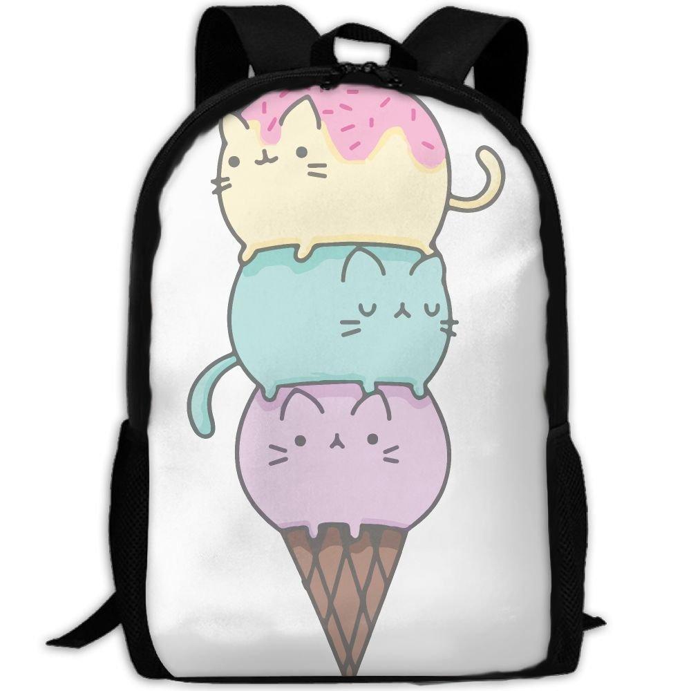 lovely Cat Ice Cream Luxury Print Men And Women's Travel Knapsack