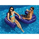 "77"" Blue Duo Looped Circular Inflatable Swimming Pool Lounger with Cup Holders"