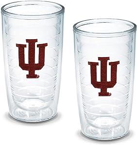 Tervis 1005868 Indiana University Emblem Tumbler, Set of 2, 16 oz, Clear