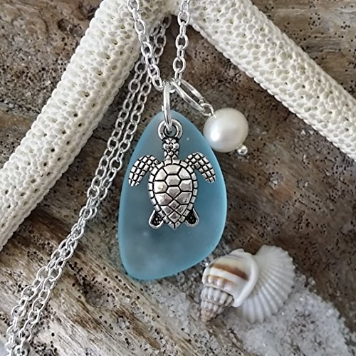 Handmade in Hawaii, Turquoise bay blue sea glass necklace, sea turtle charm, fresh water pearl, sterling silver chain, Hawaiian Gift, FREE gift wrap, FREE gift message, FREE shipping (Pendant Pearl Sea Turtle)