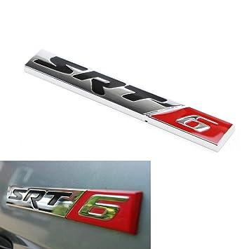 (1) cromo/rojo SRT-6 aleación metal insignia emblema para Dodge Charger