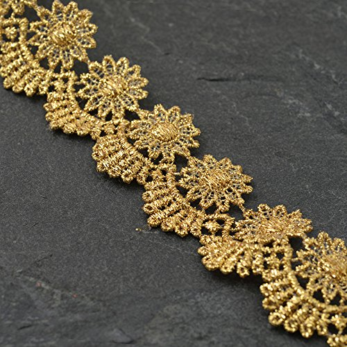 2-Yards 1-1/4 Inch Metallic Gold Lace Trim for Bridal, Costume or Jewelry, Crafts and Sewing, LP-MX-454