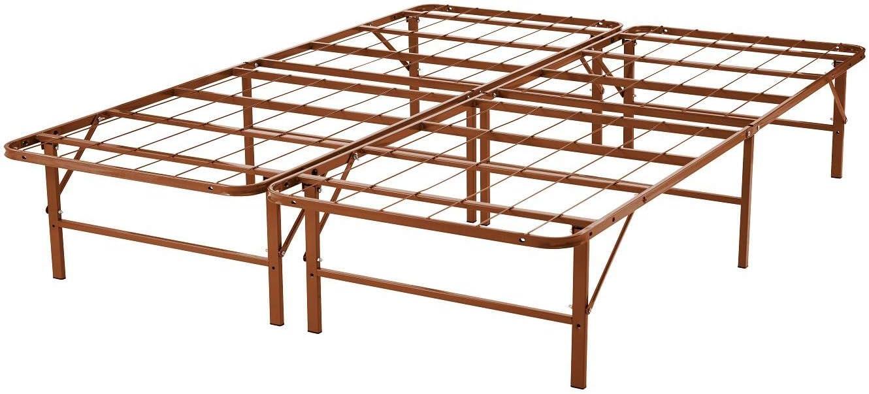 Naomi Home idealBase 14 Platform Metal Bed Frame – Mattress Foundation Box Spring Replacement Brown Queen
