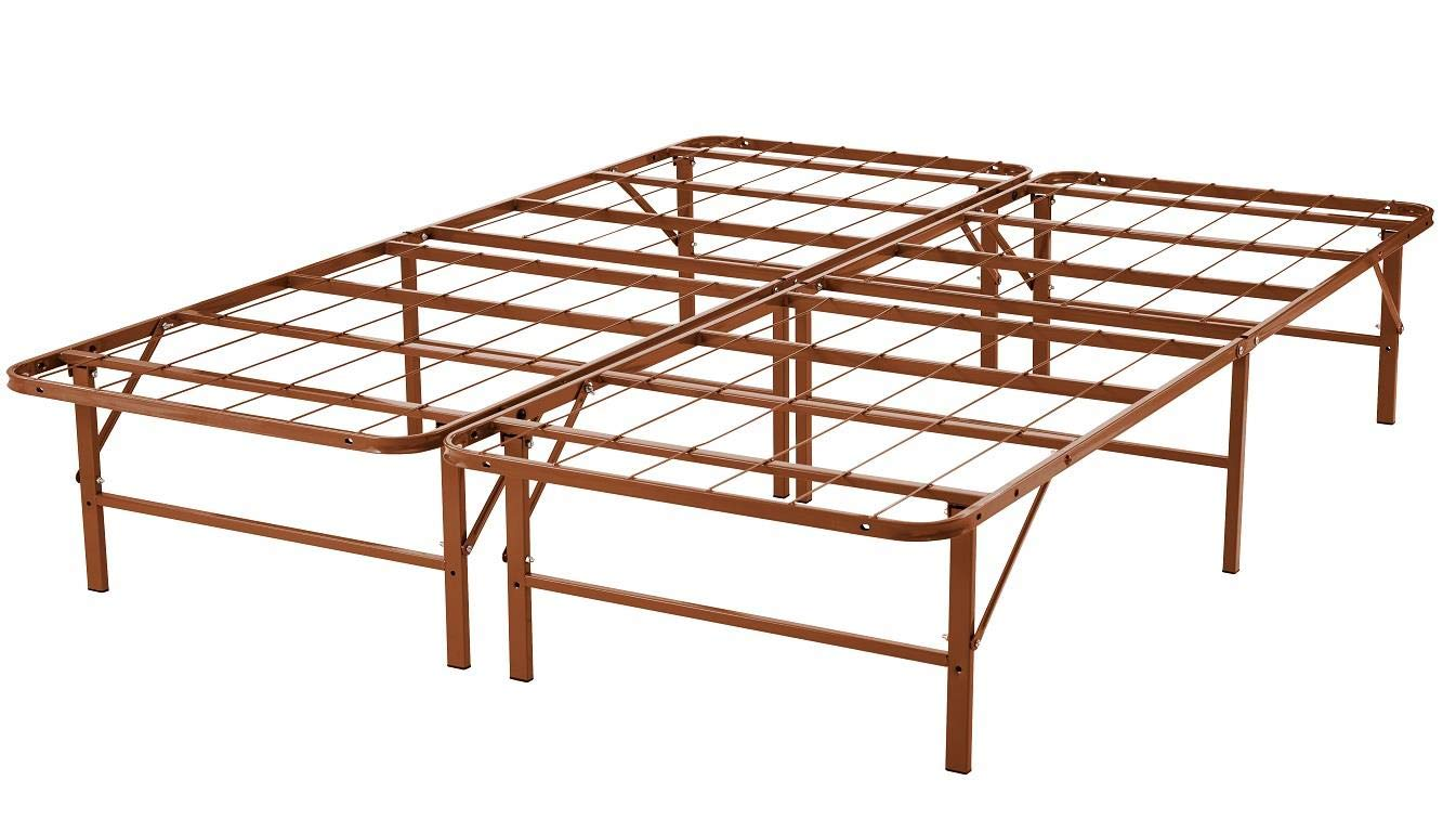 Naomi Home idealBase 14 Platform Metal Bed Frame – Mattress Foundation Box Spring Replacement Brown Queen