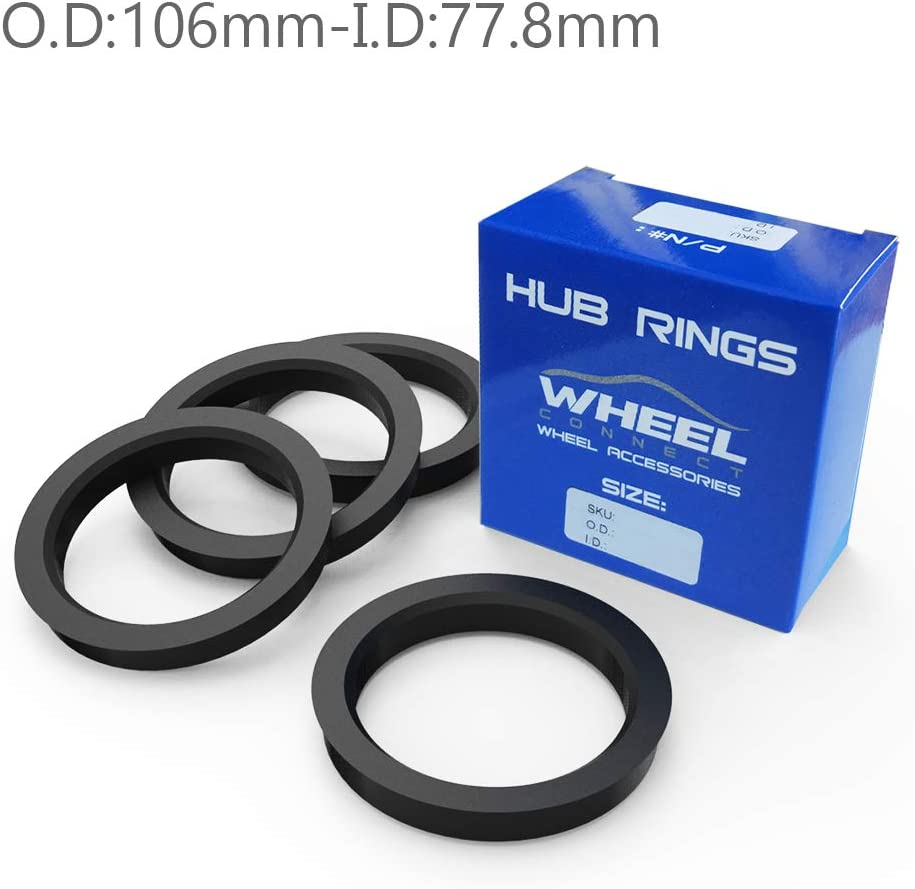 Set of 4 O.D:106mm I.D:87.1mm. ABS Plastic Hubrings WHEEL CONNECT Hub Centric Rings