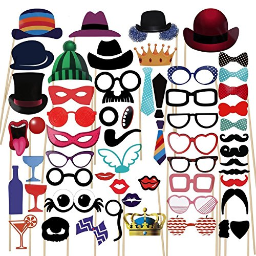 Photo Booth Props Party Supplies,Toqueen 58pcs DIY Kit for Birthday Wedding & Photobooth Reunions Dress-up Costume Accessories with Mustache,Hats,Glasses,Mouth,Bowler,Bowties
