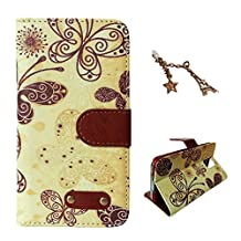 Uming Retro Print PU case for Apple Iphone 5S 5G 5 IPhone5 IPhone5S SE IPhoneSE Apple5S Note Book Style Cloth Material Hit color Stitching Nails Pushpin Sew Flip Holster with Stand Stander Holder Hand Free Credit Card Slot Wallet Hasp Magnet Magnetic Button Buckle Shell Protective Mobile Cell Phone Case Cover Bag + 1 x Anti Dust Plug - Yellow Butterfly