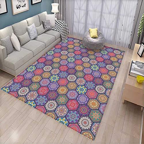 Mandala Door Mats Area Rug Hexagonal Pattern with Orient Cultural Arrangement and Antique Ancient Flowers Bath Mat Non Slip Multicolor