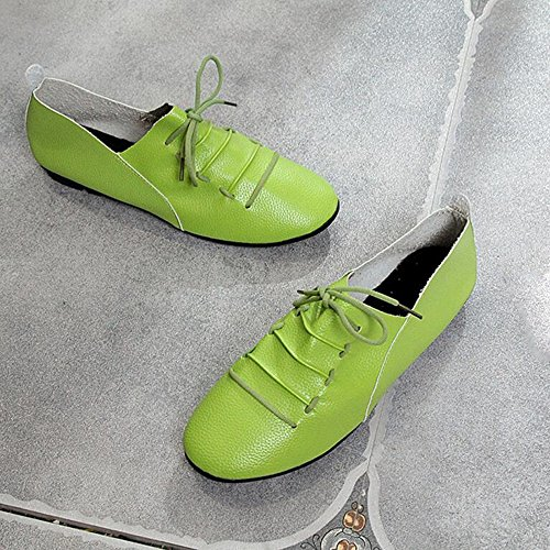 Toe Green PU Office Athletic Ankle Casual for GAOLIXIA Lace Shoes Strap Shoes Flats Comfort Round Orange Spring Summer Green Heel Flat Black Walking White up Women's qwAxR46