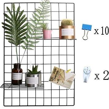 Eisen Gitter der Foto Wand einfache Dekoration Plaid kreative Memo an der  Wand Hängen in der Familie, Küche, Büro und so weiter(Schwarz, 65 * ...