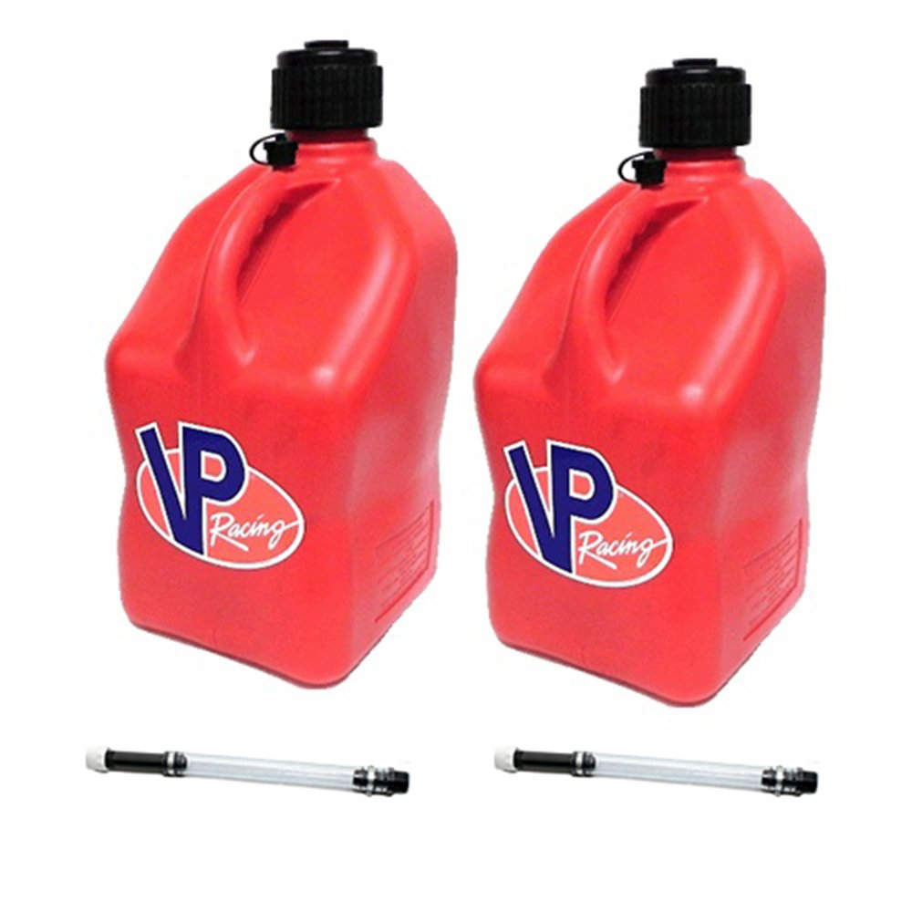 2 Pack VP 5 Gallon Square Yellow Racing Utility Jugs with 2 Deluxe Filler Hoses VP Fuels