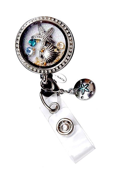 c1e98830d0ee Amazon.com   Floating Charm Rhinestone Memory Locket Retractable ID Badge  Holders (Seashell Starfish Charms)   Office Products