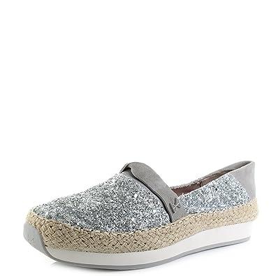 ecbe6e7489f6de Womens Butterfly Twists Maya Silver Glitter Flat Espadrilles Shoes SIZE 4