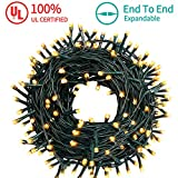 MZD8391 105 FT 300 LEDs Christmas Lights Outdoor Indoor Fairy String Lights 8 Modes Memory Function (Warm White) for Christmas Tree Wedding Party Decoration - 100% UL Listed (4 Sets CONNECTABLE)