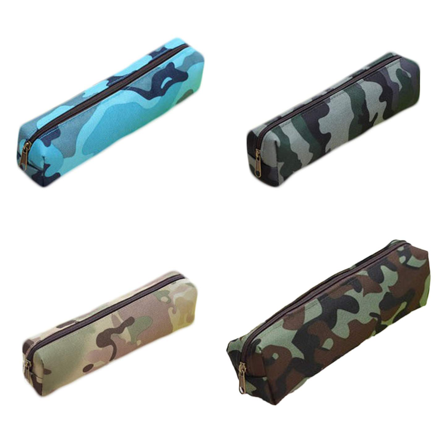 None K4-5 camouflage blue pengousm Delicato Army Green Classic Zipper Small Pencil Case Stationery Storage Pouch Bag Case