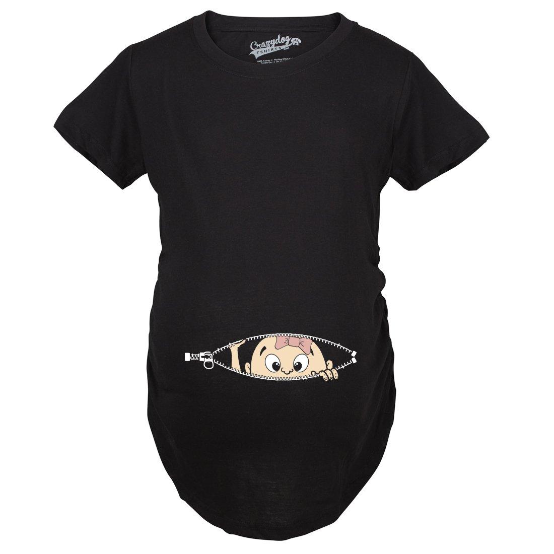 Crazy Dog Tshirts Maternity Baby Girl Peeking with Pink Bow Shirt Funny Cute Pregnancy T Shirt Damen