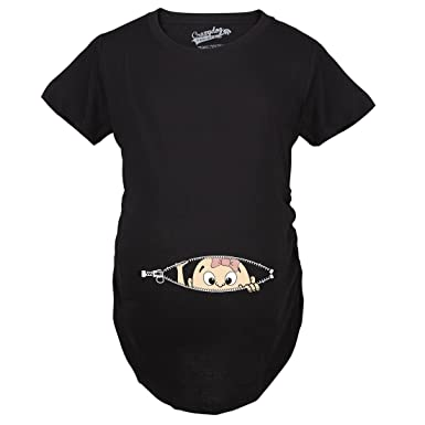 32b648c7d8cbf Maternity Baby Girl Peeking with Pink Bow Shirt Funny Cute Pregnancy T Shirt  (Black)