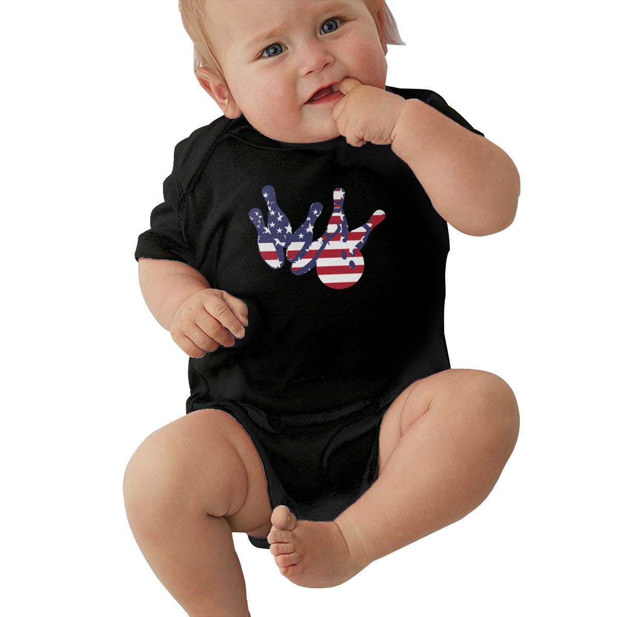 Toddler Baby Girl Boy Bowling Strike USA Flag Outfit Romper Jumpsuit Short Sleeve Bodysuit Tops Clothes